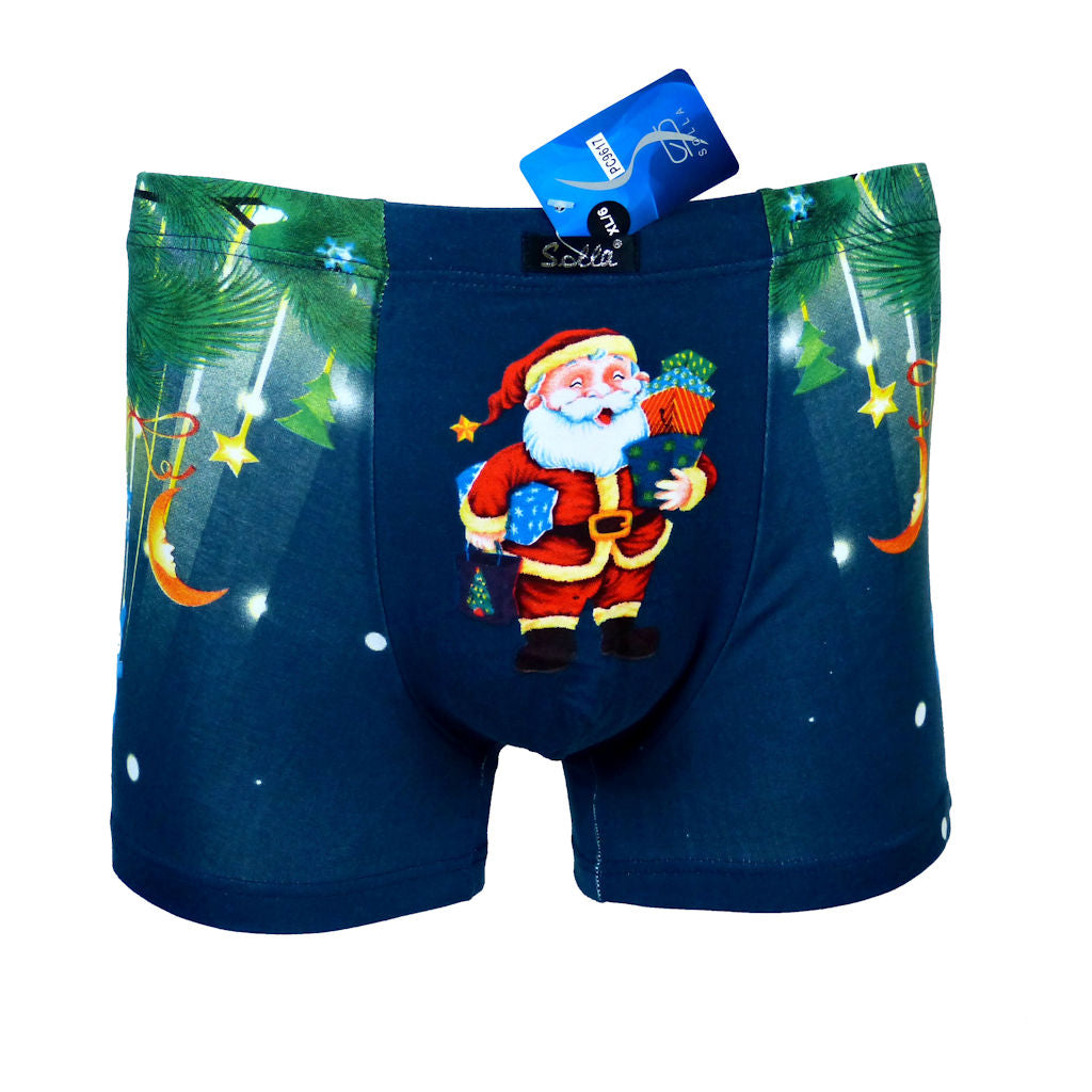 Sebix - Xmas Santa Cotton Boxer Shorts - Navy Blue - Front 1