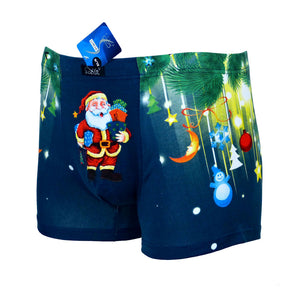 Sebix - Xmas Santa Cotton Boxer Shorts - Navy Blue - Front 2
