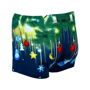 Sebix - Xmas Santa Cotton Boxer Shorts - Navy Blue - Back 1