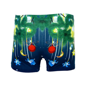 Sebix - Xmas Santa Cotton Boxer Shorts - Navy Blue - Back 2