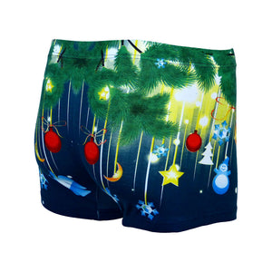 Sebix - Xmas Santa Cotton Boxer Shorts - Navy Blue - Back 3