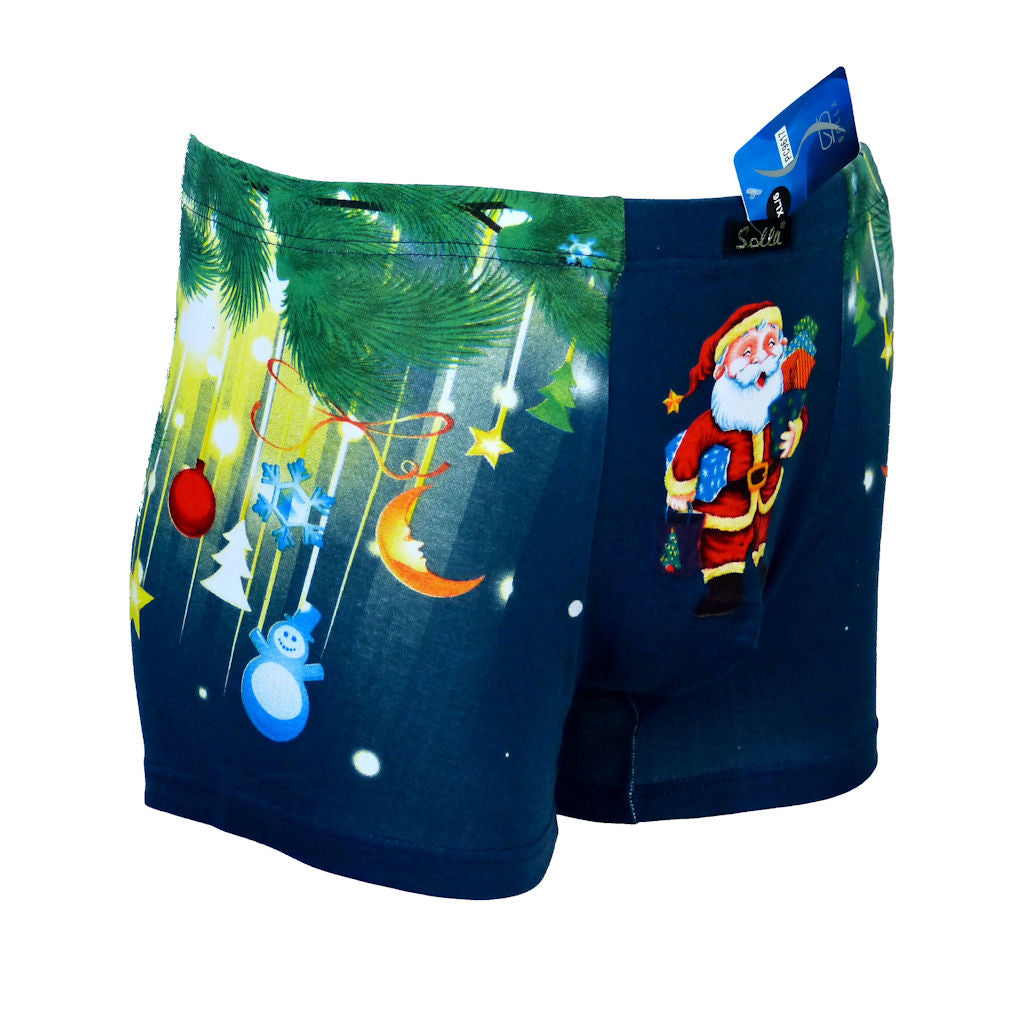 Sebix - Xmas Santa Cotton Boxer Shorts - Navy Blue - Front 3