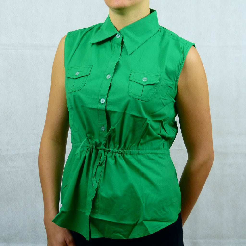 Green Sleeveless Collared Buttoned Shirt Top with Belt