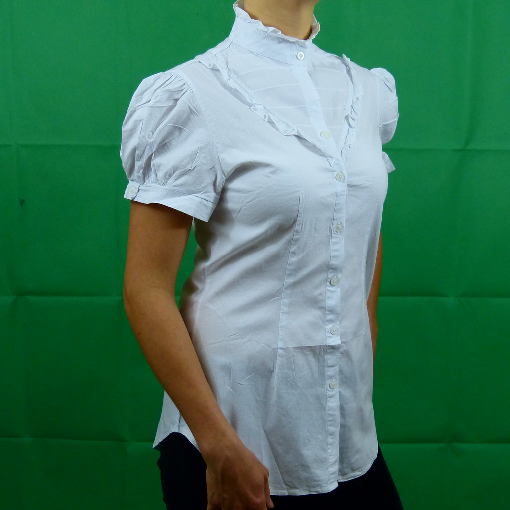 White Formal Victorian Short Sleeve Shirt