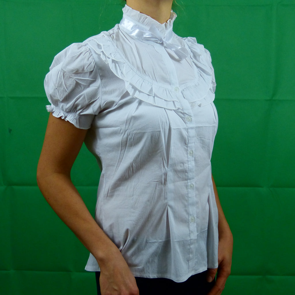White Formal Cotton Victorian Short Sleeve Ribbon Shirt