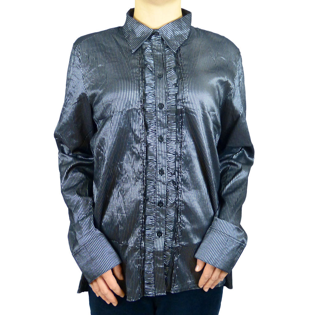 Plus Size Victorian Gothic Collared Shirt