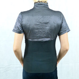 Grey Cotton Victorian Short Sleeve Corset Top
