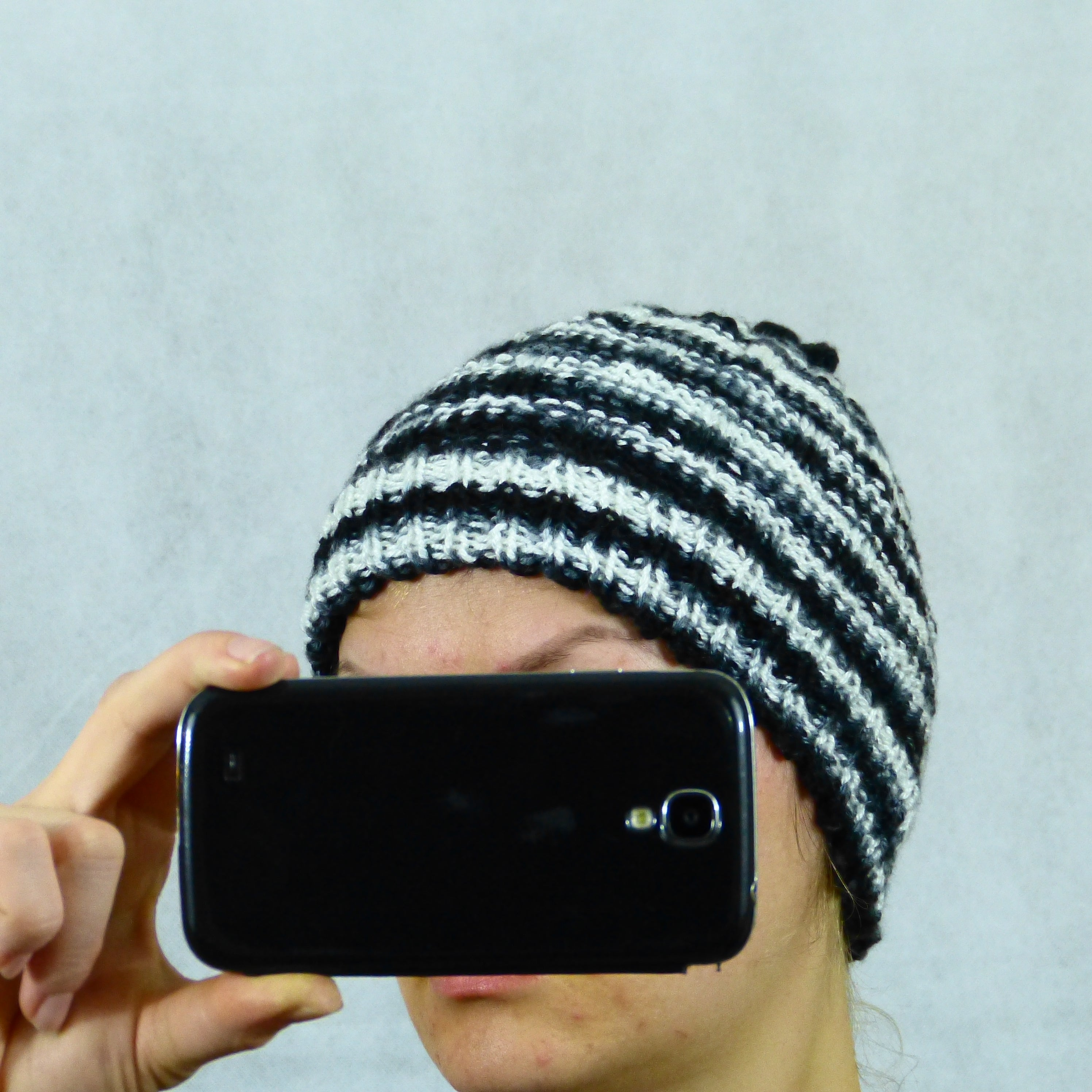 White Black Grey Striped Winter Beanie Hat