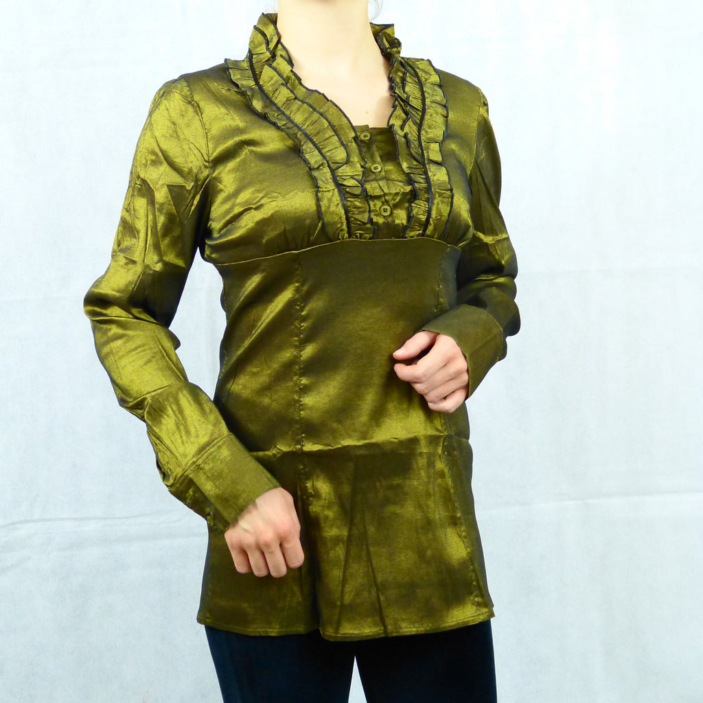 V neck Victorian Steampunk Long Sleeve Shirt