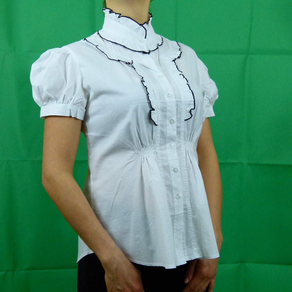 White Black Formal Victorian Short Sleeve Shirt
