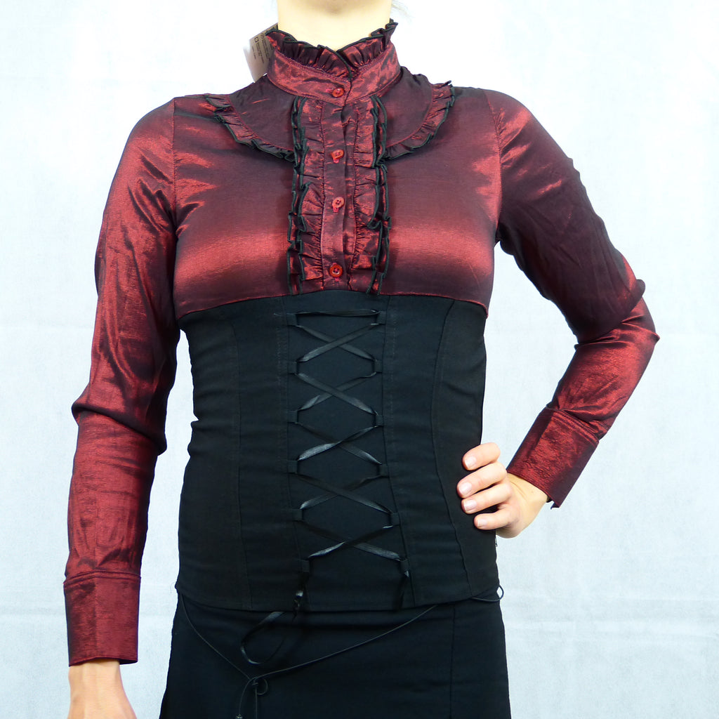 Sexy Red Black Victorian Gothic Long Sleeve Corset Formal Shirt