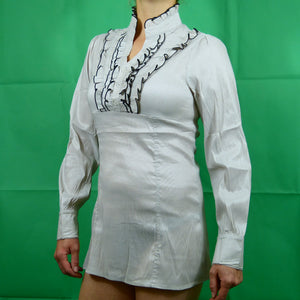 Cream Victorian Steampunk Business Long Sleeve Formal Shirt