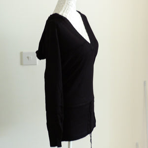 Long Sleeve V Neck Tunic Hoody Top Sweater