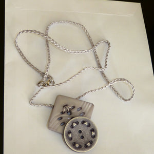 Grey Handmade Alternative Necklace Buttons Pendant