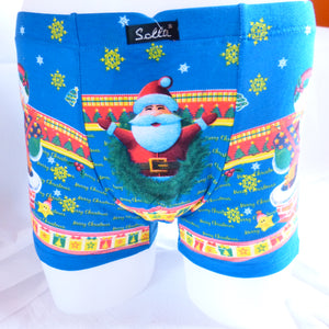Green Blue Red Black Navy Funny Xmas Gift Santa Cotton Boxer Shorts