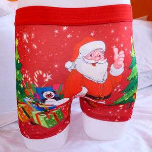 Funny Xmas Christmas Santa Thumb Cotton Mens Boxer Shorts Trunks