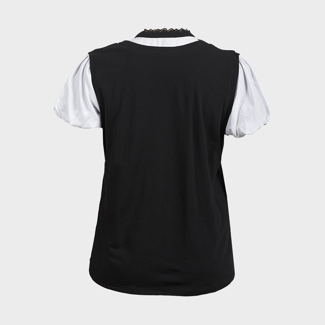 Sebix - Black & White Victorian Goth Cotton Short Sleeve Formal Top - Back