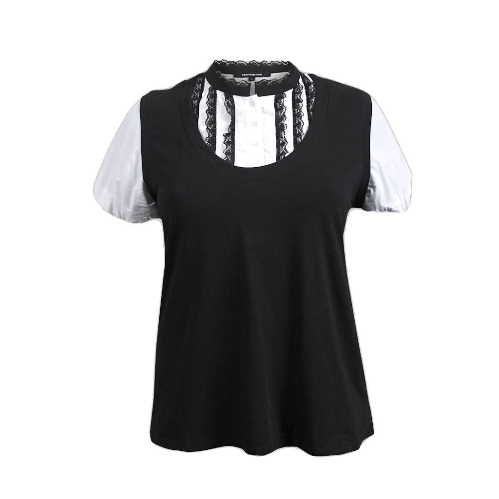 Sebix - Black & White Victorian Goth Cotton Short Sleeve Formal Top - Front