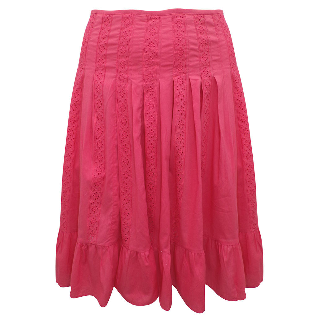 Sebix - Coral Cotton Knee Length Panelled Skirt - Front