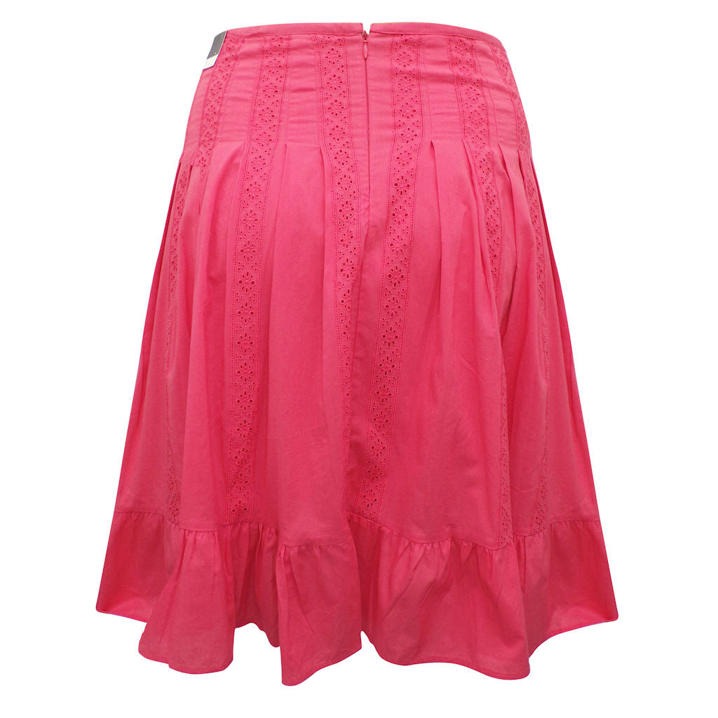 Sebix - Coral Cotton Knee Length Panelled Skirt - Back