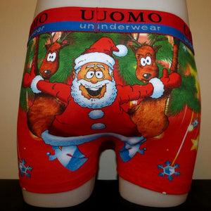 Sebix - Xmas Santa Cotton Boxer Shorts - Back
