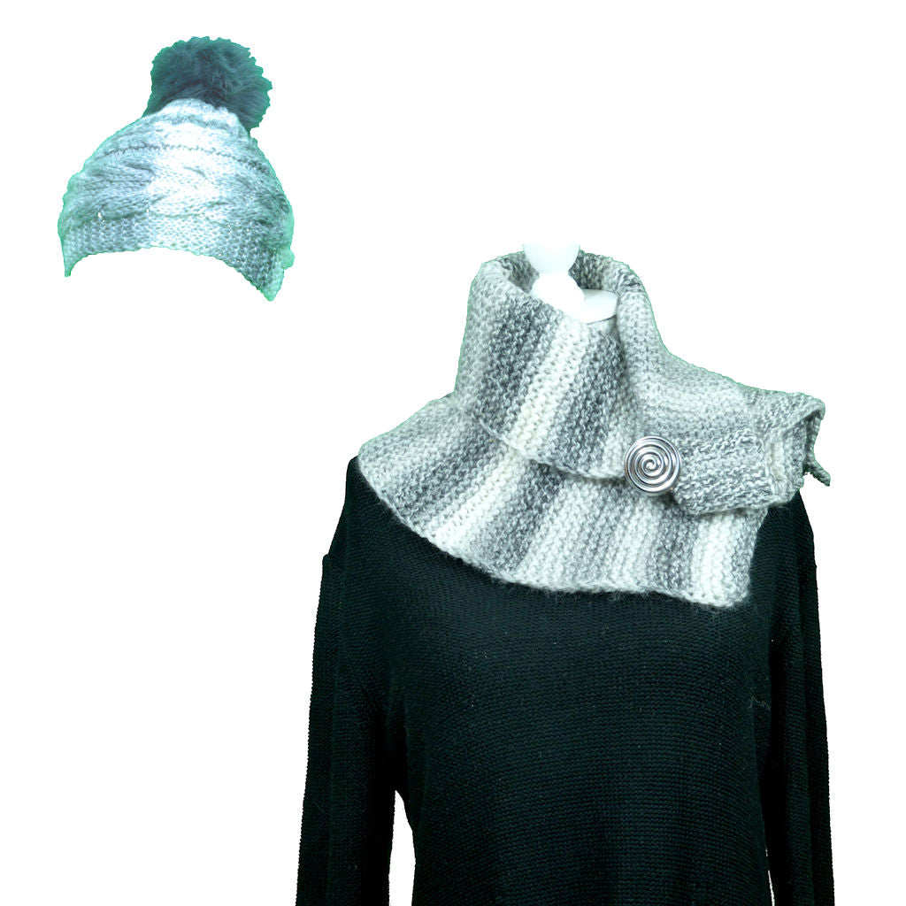 White and Grey Wooly Hat and Scarf Set - Hat & Scarf