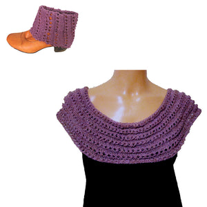 Sebix - Warm Shiny Purple Spain Snood Style Scarf & Boot Cuffs Set