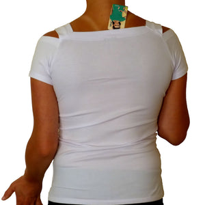 Sebix - Sexy Cold Shoulder Short Sleeve Top - White