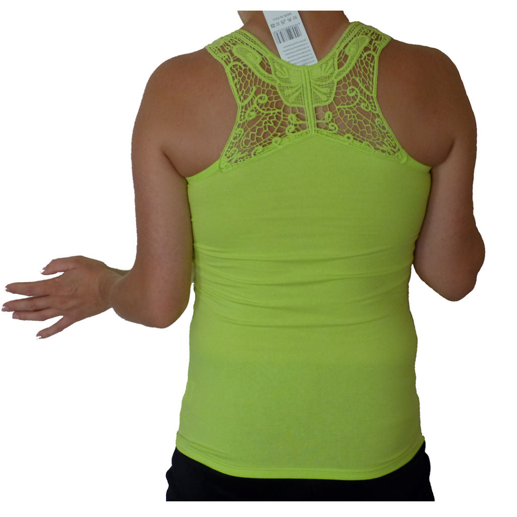 Sebix - Sexy Sleeveless Butterfly Crochet Top - Lime