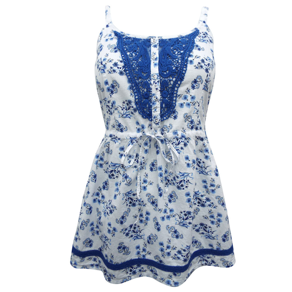 Sebix - White & Blue Sexy Floral Cotton Crochet Strappy Top - Front
