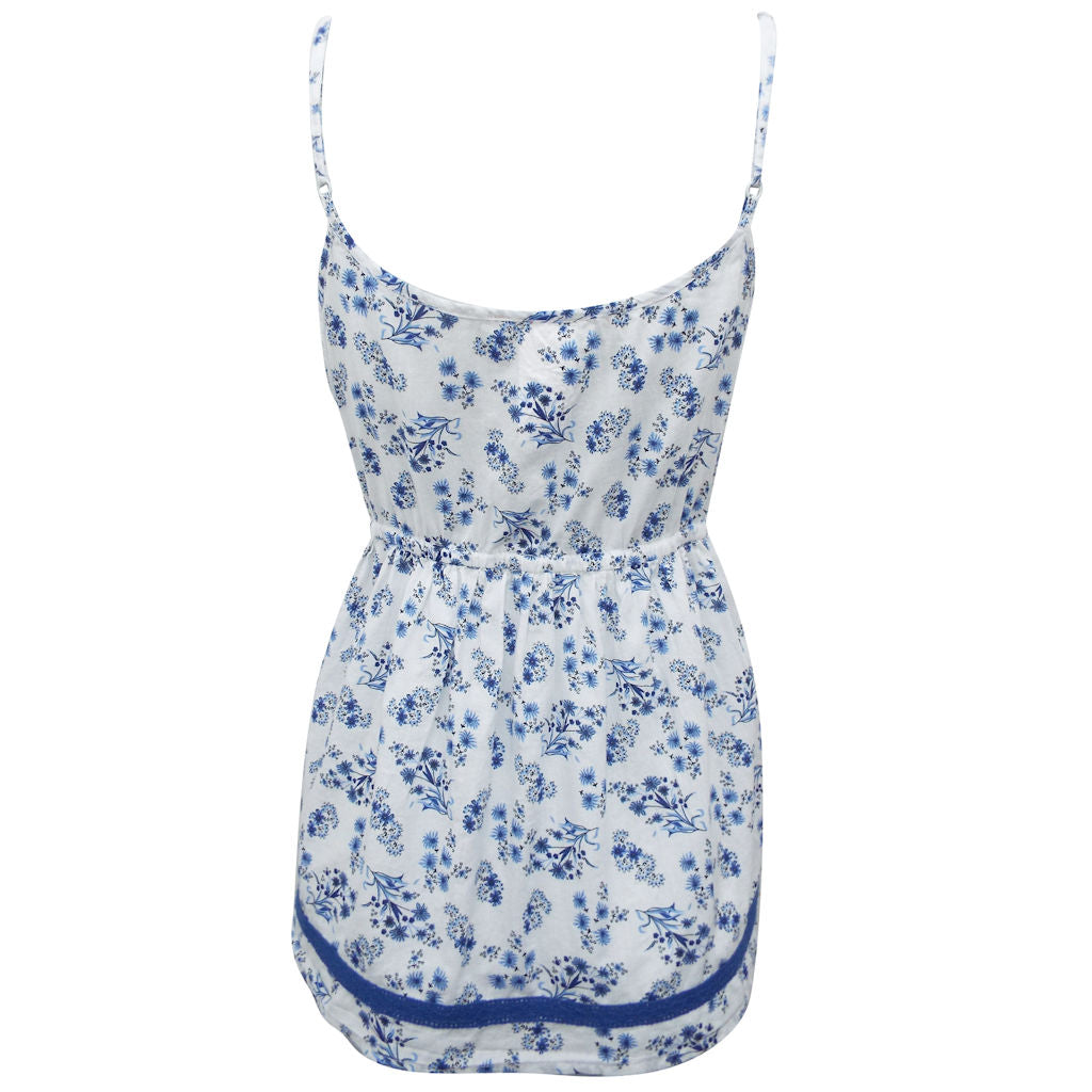 Sebix - White & Blue Sexy Floral Cotton Crochet Strappy Top - Back