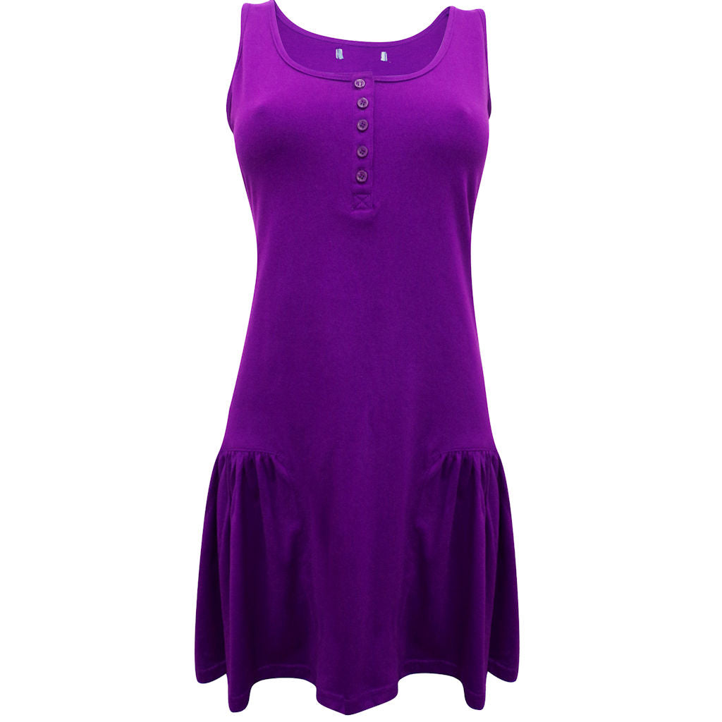 Sebix - Purple Sleeveless Cotton Tunic Top - Front