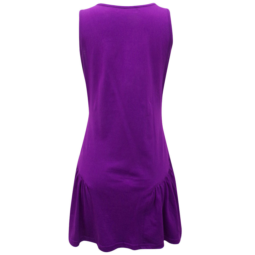 Sebix - Purple Sleeveless Cotton Tunic Top - Back