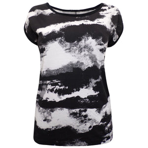 Sebix - Black & White Camo Cotton T-shirt Top