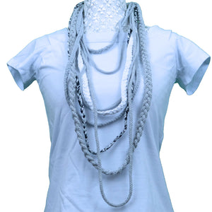 Sebix - White & Grey Rebel Style Fabric String Necklace Plait