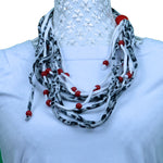 Sebix - White Panther Rebel Style Fabric String Necklace with Beads