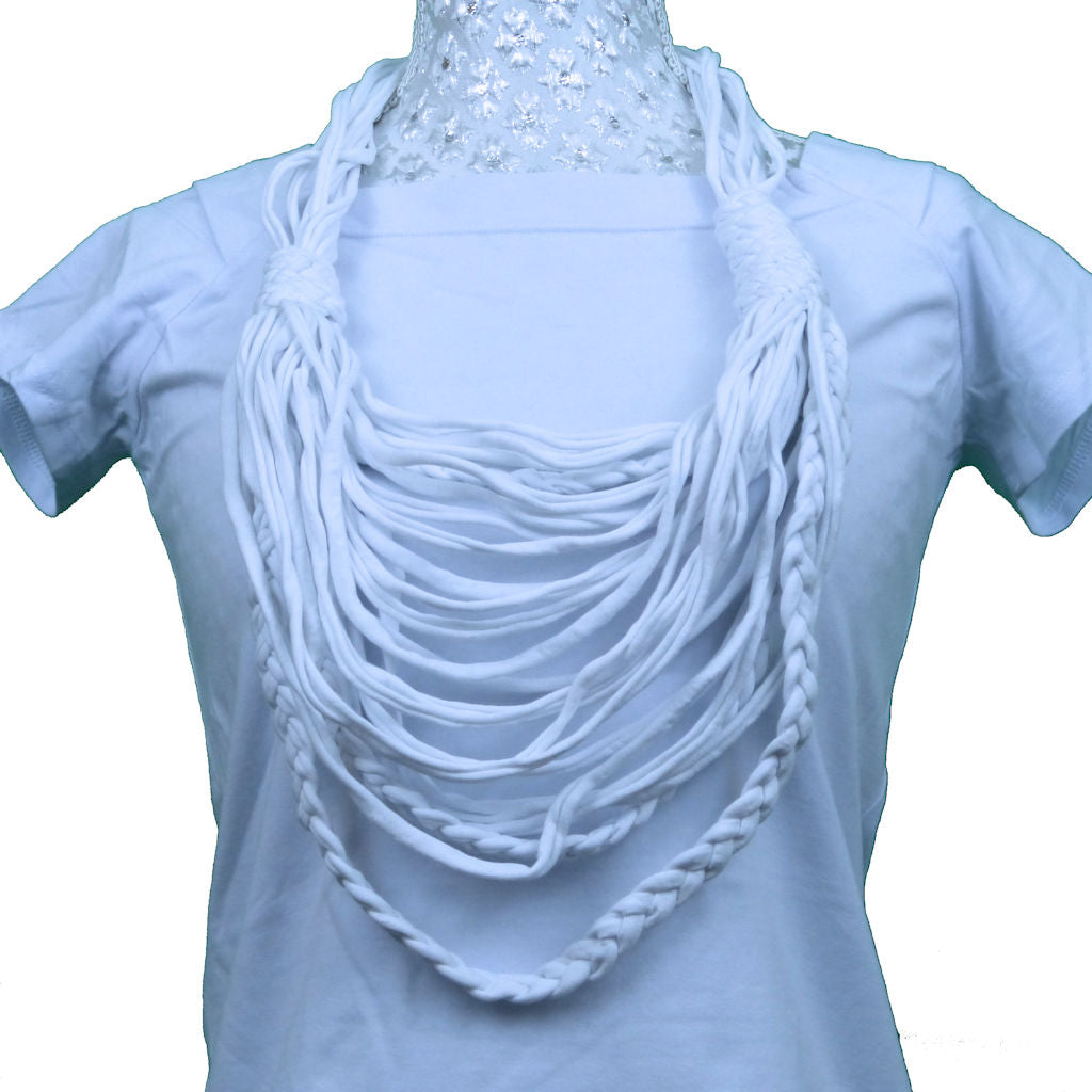 Sebix - White Rebel Style Fabric String Necklace Plait