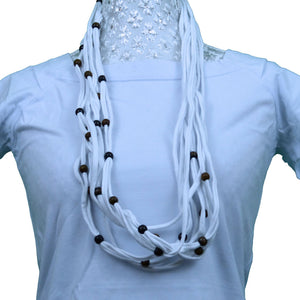 Sebix - White Rebel Style Fabric String Necklace with Beads
