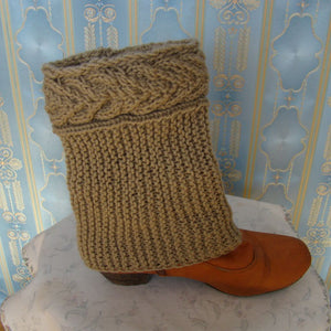 Sebix - Wool Beige Boot Cuffs Legwarmers - Full View on Shoe