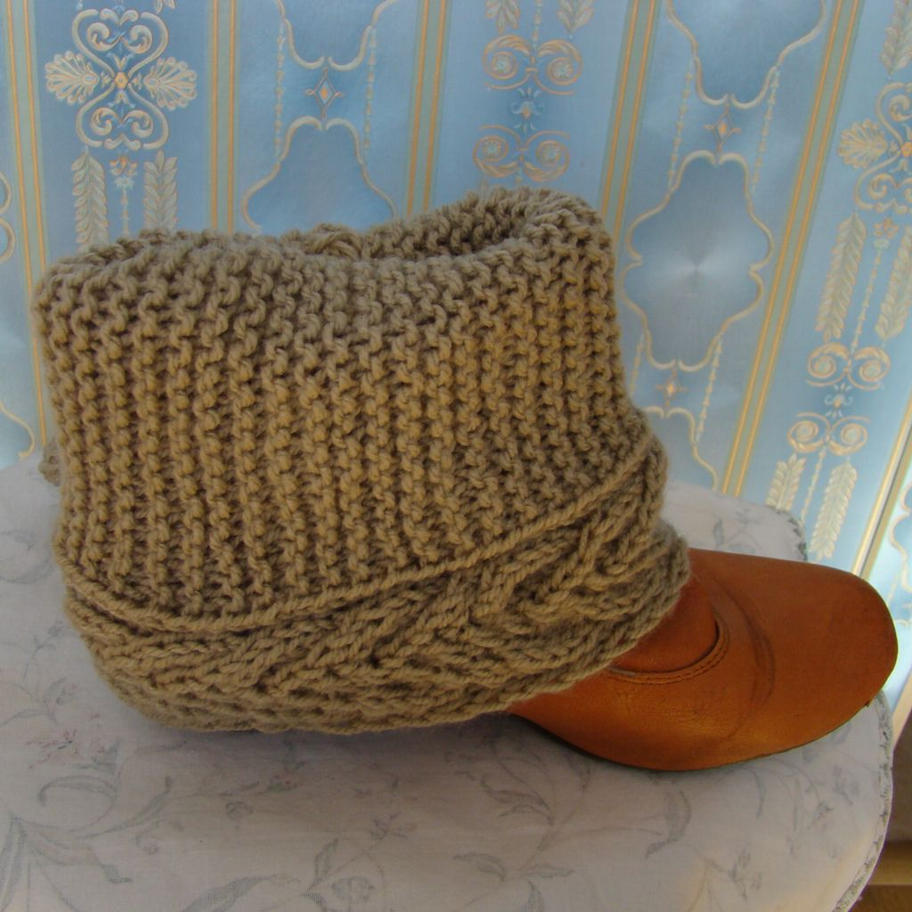 Sebix - Wool Beige Boot Cuffs Legwarmers - View on Shoe (2)