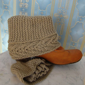 Sebix - Wool Beige Boot Cuffs Legwarmers - View on Shoe (3)