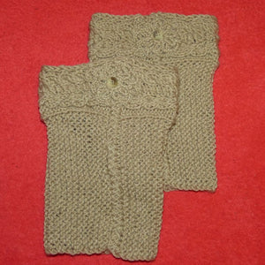 Sebix - Wool Beige Boot Cuffs Legwarmers - Pair on Red