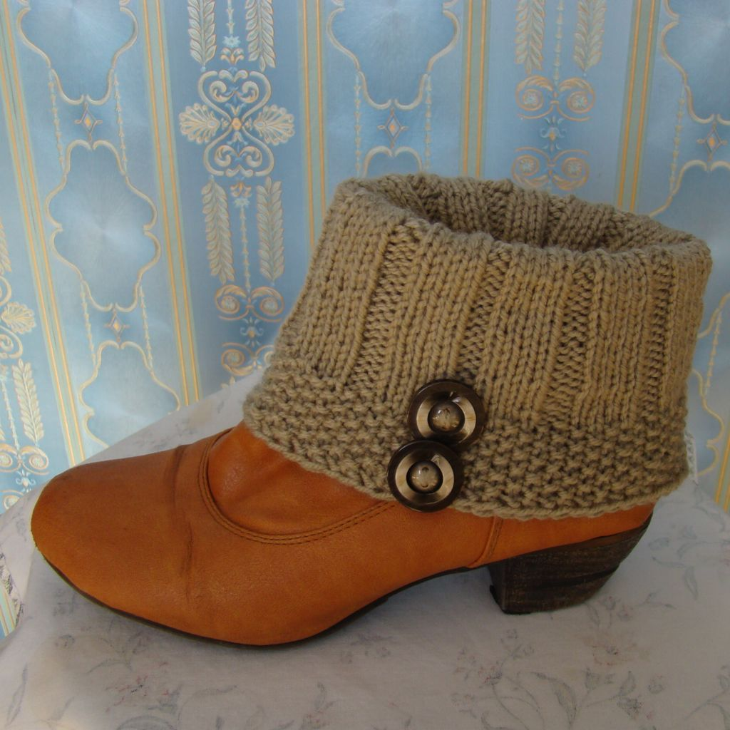 Sebix - Wool Beige Boot Cuffs with Buttons - View on Shoe