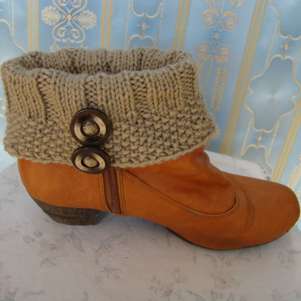 Sebix - Wool Beige Boot Cuffs with Buttons - View on Shoe (2)