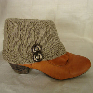 Sebix - Wool Beige Boot Cuffs with Buttons - View on Shoe (3)