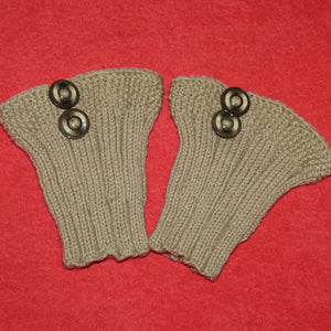 Sebix - Wool Beige Boot Cuffs with Buttons - Pair on Red
