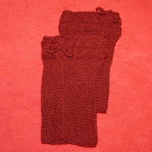 Sebix - Wool Burgundy Boot Cuffs Legwarmers - View on Red