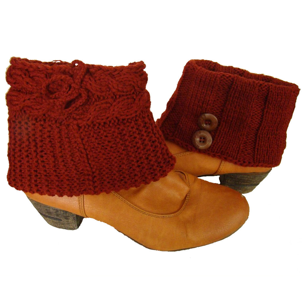 Sebix - Wool Burgundy Boot Cuffs with Buttons - View on Shoe