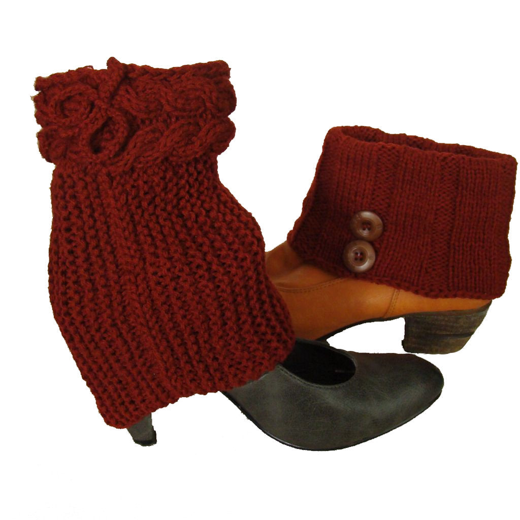 Sebix - Wool Burgundy Boot Cuffs with Buttons - View on Shoes
