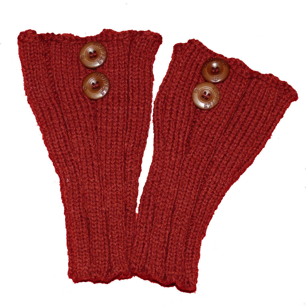 Sebix - Wool Burgundy Boot Cuffs with Buttons - Pair on Red